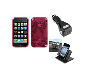 eForCity Car Charger + Holder + Pink Morning Glory Candy Skin Case compatible with Apple® iPhone 3GS/3G