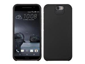 HTC One A9 Case, eForCity Dual Layer [Shock Absorbing] Protection Hybrid Rubberized Hard PC / Silicone Case Cover for HTC One A9, Black