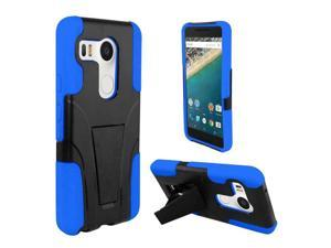 LG Google Nexus 5X Case, eForCity Dual Layer [Shock Absorbing] Protection Hybrid Stand PC / Silicone Case Cover for LG Google Nexus 5X, Black / Blue
