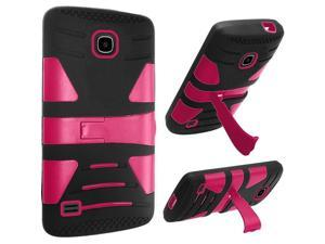 Huawei Union Case, eForCity Dual Layer [Shock Absorbing] Protection Hybrid Stand Rubberized Hard PC / Silicone Case Cover for Huawei Union, Black / Hot Pink