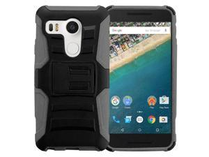 LG Google Nexus 5X Case, eForCity Dual Layer [Shock Absorbing] Protection Hybrid PC / Silicone Holster Case Cover for LG Google Nexus 5X, Black / Gray