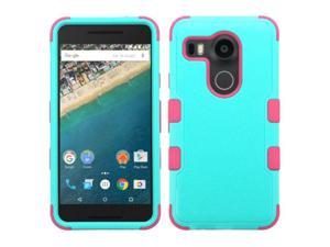 LG Google Nexus 5X Case, eForCity Tuff Dual Layer [Shock Absorbing] Protection Hybrid Rubberized Hard PC / Silicone Case Cover for LG Google Nexus 5X, Teal / Hot Pink