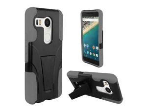 LG Google Nexus 5X Case, eForCity Dual Layer [Shock Absorbing] Protection Hybrid Stand PC / Silicone Case Cover for LG Google Nexus 5X, Black / Gray