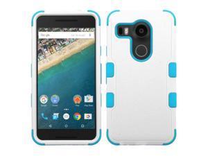 LG Google Nexus 5X Case, eForCity Tuff Dual Layer [Shock Absorbing] Protection Hybrid Rubberized Hard PC / Silicone Case Cover for LG Google Nexus 5X, White / Blue