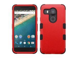 LG Google Nexus 5X Case, eForCity Tuff Dual Layer [Shock Absorbing] Protection Hybrid Rubberized Hard PC / Silicone Case Cover for LG Google Nexus 5X, Red / Black