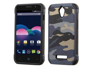 ZTE Obsidian Case, eForCity Camouflage Dual Layer [Shock Absorbing] Protection Hybrid Rubberized Hard PC / Silicone Case Cover for ZTE Obsidian, Blue / Black