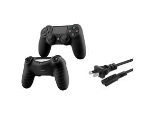 eForCity Black Silicone Controller Case with FREE US 2 Prong Power Charger Cable Compatible with Sony PlayStation PS4