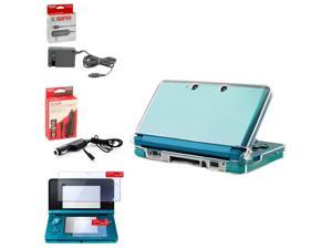 eForCity Travel Charger+eForCity Car Charger+2-LCD Film Guard+Crystal Case For Nintendo 3Ds
