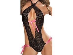 Zodaca Ladies Women Hot Sexy Lingerie Pierced Lace Piece Suit Underwear Sleepwear with Pink Ribbon - Black
