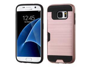 Samsung Galaxy S7 Case, eForCity Dual Layer [Shock Absorbing] Protection Hybrid Rubberized Hard PC / Silicone ID / Credit Card Slot Case Cover Compatible With Samsung Galaxy S7, Rose Gold / Black