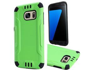 Samsung Galaxy S7 Case, eForCity Dual Layer [Shock Absorbing] Protection Hybrid Rubberized Hard PC / Silicone Case Cover Compatible With Samsung Galaxy S7, Green / Black