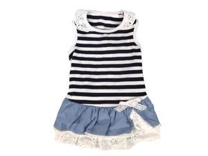 Blue/ White Stripe Dog Dress with Cotton and Lace Layer Skirt, Extra Small