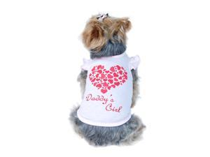 Sweet Pink Rhinestone DADDY'S GIRL Dog Shirt with Glittery Heart on Back, Extra Small