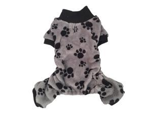 Gray/ Black Paw Print Soft Coral Fleece Dog and Pet Pajamas, 2 Extra Small