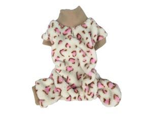 Cream/ Pink Leopard Soft Coral Fleece Dog and Pet Pajamas, 2 Extra Small