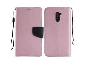 ZTE Imperial Max/ Kirk Case, eForCity Stand Folio Flip Leather Case Cover Compatible With ZTE Imperial Max / Kirk, Rose Gold/ Black