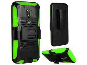 eForCity Motorola Moto G4/ G4 PLUS Case, eForCity Dual Layer [Shock Absorbing] Protection Hybrid PC/ Silicone Holster Case Cover Compatible With Motorola Moto G4/ G4 PLUS, Black/ Green