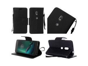 eForCity Motorola Moto G4/ G4 PLUS Case, eForCity Stand Folio Flip Leather Case Cover Compatible With Motorola Moto G4/ G4 PLUS, Black