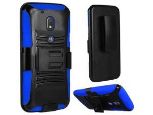 eForCity Motorola Moto G4/ G4 PLUS Case, eForCity Dual Layer [Shock Absorbing] Protection Hybrid PC/ Silicone Holster Case Cover Compatible With Motorola Moto G4/ G4 PLUS, Black/ Blue