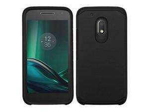 eForCity Dual Layer Hybrid Rubberized Hard PC / Silicone Case Cover Compatible With Motorola Moto G4 Play, Black