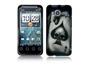 HTC Evo Shift 4G Case, eForCity Spade Skull Skull Rubberized Design Cover compatible with HTC Evo Shift 4G, Grey/  Black