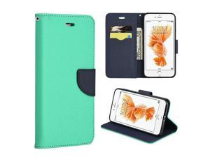Apple iPhone 7 Plus Case, eForCity Stand Folio Flip Leather [Card Slot] Wallet Flap Pouch Case Cover Compatible With Apple iPhone 7 Plus, Teal/ Navy Blue