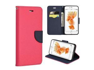 Apple iPhone 7 Plus Case, eForCity Stand Folio Flip Leather [Card Slot] Wallet Flap Pouch Case Cover Compatible With Apple iPhone 7 Plus, Hot Pink/ Navy Blue