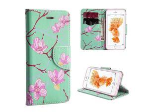 Apple iPhone 7 Case, eForCity Japanese Blossom Stand Folio Flip Leather [Card Slot] Wallet Flap Pouch Case Cover Compatible With Apple iPhone 7, Green/ Pink