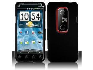 Black Hard Plastic Rubberized Case Cover for Sprint HTC EVO 3D