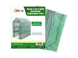 """2 Tier 8 Shelf Greenhouse PE Replacement Cover - To Fit Frame Size 49.2""""W X 74""""D X 74.8""""H"""