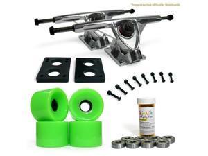 """LONGBOARD Skateboard TRUCKS COMBO set w/ 70mm NEON GREEN WHEELS + 9.675"""" POLISHED trucks"""