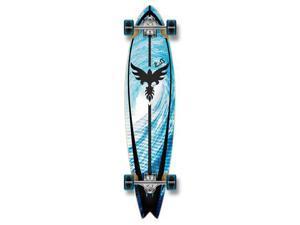 """Graphic Complete Longboard Fishtail Skateboard 40"""" X 9.75"""" - Tsunami"""