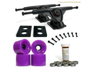 """LONGBOARD Skateboard TRUCKS COMBO set w/ 70mm Solid Purple WHEELS + 9.675"""" BLACK trucks"""