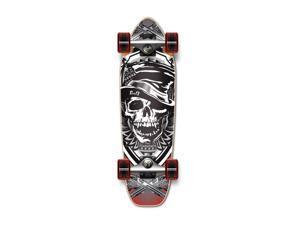 "Complete Longboard Mini Cruiser/ Banana Cruiser Skateboard 27"" X 8"" - Skull Hat"