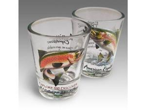 SET OF (2) SHOT GLASSES RAINBOW TROUT FISH