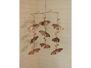 Butterfly Triple Strand Hanging Flamed Copper