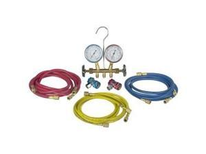 48134B R12 & R134a Brass Manifold, Hose Set & Service Couplers