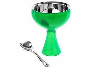 Alessi Big Love Ice Cream Bowl with Heart Shaped Spoon Green