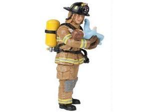 Papo Yellow US Fireman with Baby Figure