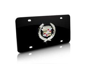 Cadillac Classic Logo on Black Metal License Plate