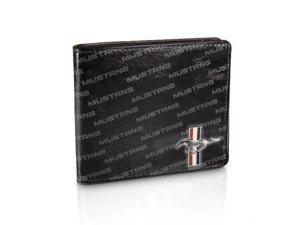 Ford Mustang Text Black Leather Wallet
