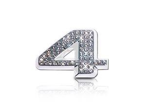 Crystallized Number 4 Car Emblem