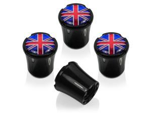 Union Jack British Flag 4 Black ABS Tire Stem Valve Caps for MINI