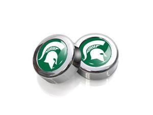 Michigan State University License Plate, Frame Chrome Screw Covers