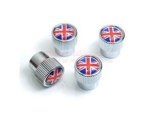 Union Jack British Flag Chrome Tire Stem Valve Caps for MINI Cooper