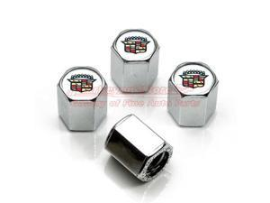 Chrome Cadillac Classic Logo Tire Stem Valve Caps