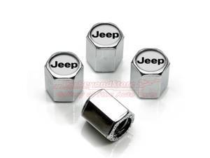 Chrome Jeep Silver Logo Tire Stem Valve Caps