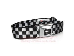 Ford Mustang Checker Flag Auto Seatbelt Buckle Black Belt