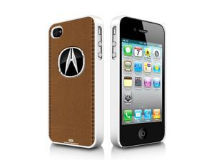 Acura Logo Brown Stitched Leather Look iPhone 4 4S White Cell Phone Case