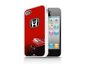 Honda VTEC Engine RED iPhone 4 4S White TPU Rubber Cell Phone Case